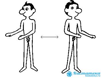 Расставить ноги на ширину плеч, туловище плавно разворачивать в разные стороны