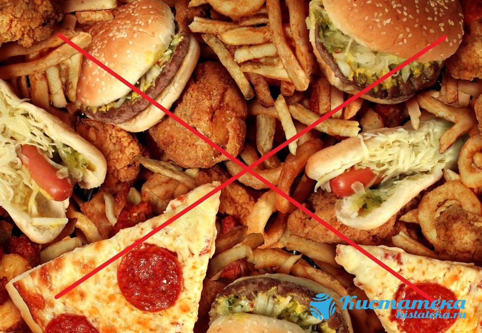 Нельзя употреблять острые, жирные блюда, фастфуд