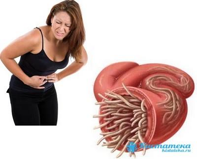 Инфицирование желудка глистами