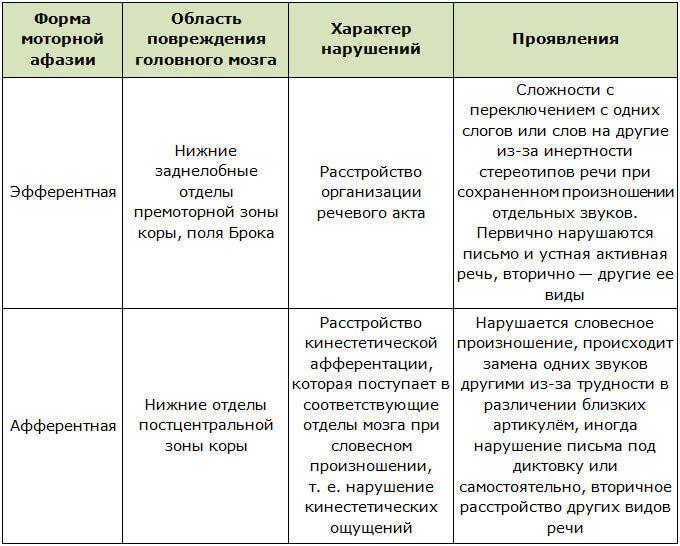 Сравнительная характеристика эфферентной и афферентной моторной афазии