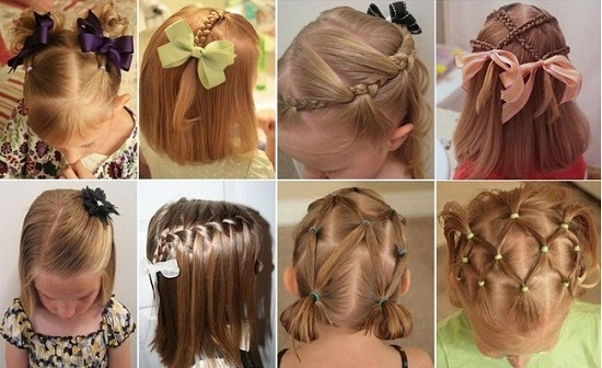 Прически ребенку на среднюю длину волос