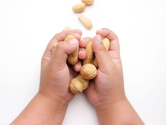 ребенок держит орехи